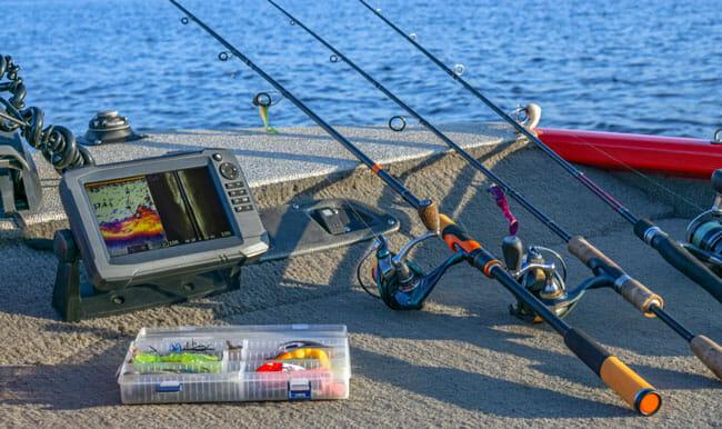 Fishing tackle set and fishfinder, sonar at the boat