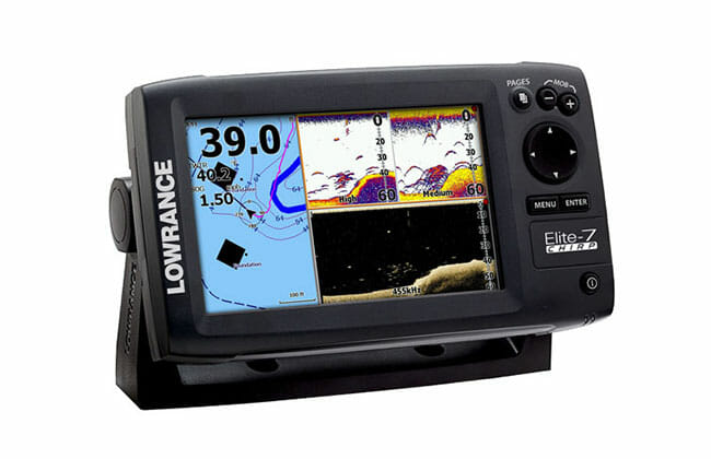 Lowrance Elite 7 CHIRP on white background