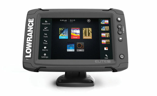 Lowrance Elite 7 Ti on the white background