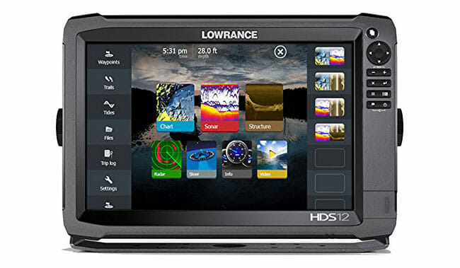 Lowrance HDS-12 Gen3 menu option on display