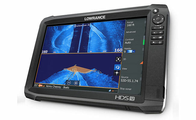 Lowrance HDS-12 Gen3 on white background